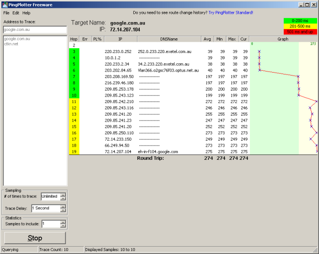 pingplotter Active Traceroute Applications: mtr & Ping Plotter